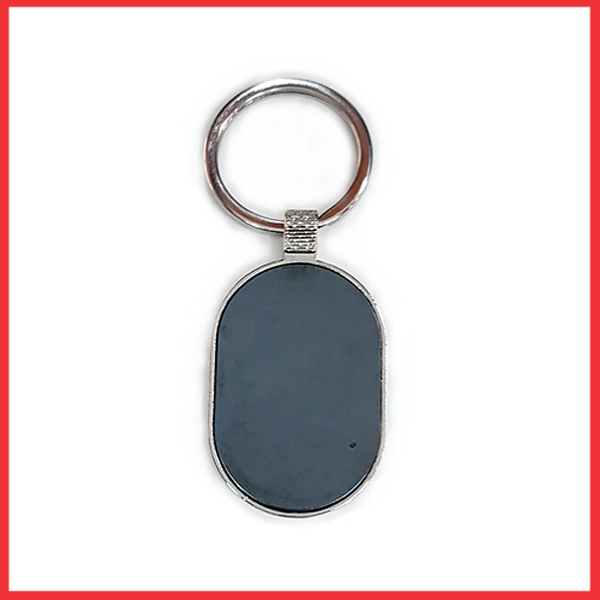 Silver And Metal Oval Black Glass Keychain