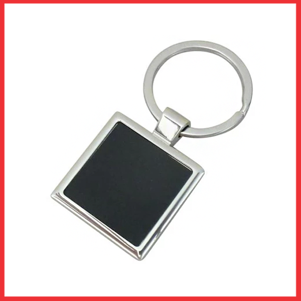 Silver Metal Key Chain (Square Shaped) Round Black Glass.
