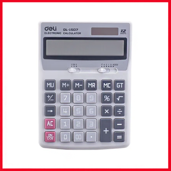 Deli E1507 Calculator 12-Digit (Grey)