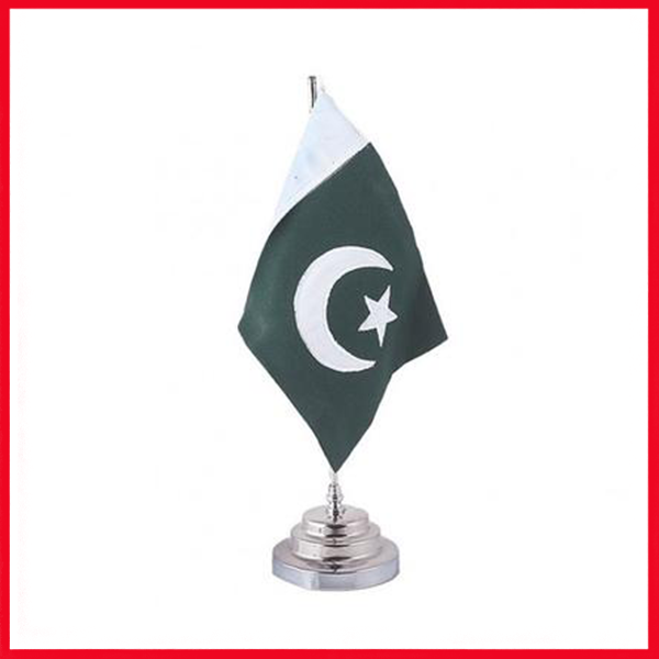 Table Stand Metal Base With Pakistan Flag – Silver