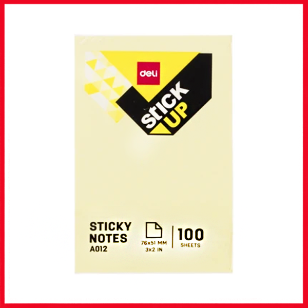 "Deli EA01203 Sticky Notes :76×51MM, 3""×2"" (100 Sheets), 4 Color."