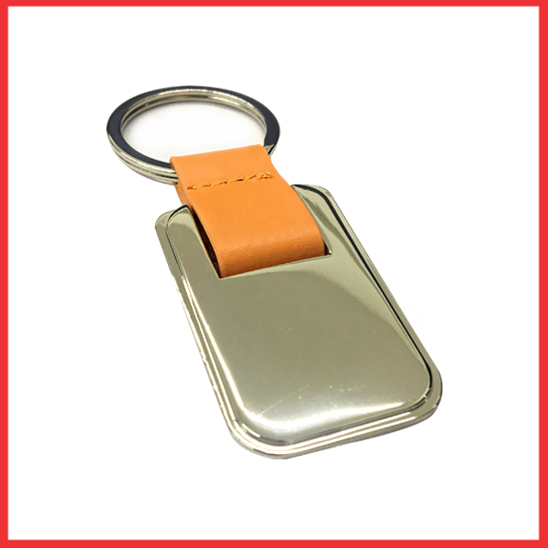Silver And Metal Keychain (Orange Leather).