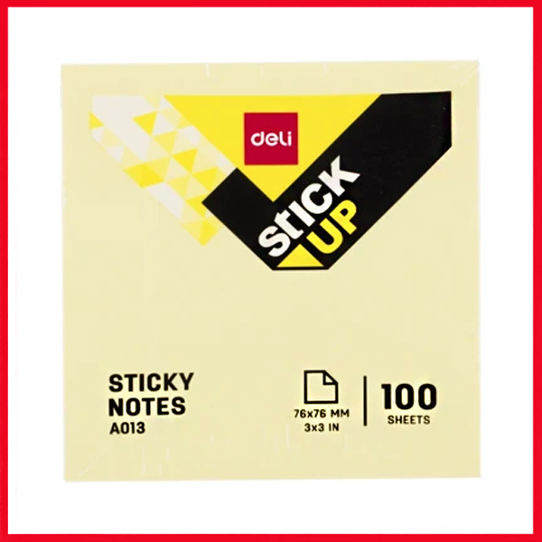 "Deli EA01303 Sticky Notes: 76×76MM, 3""×3"" (100 Sheets), 4 Color"