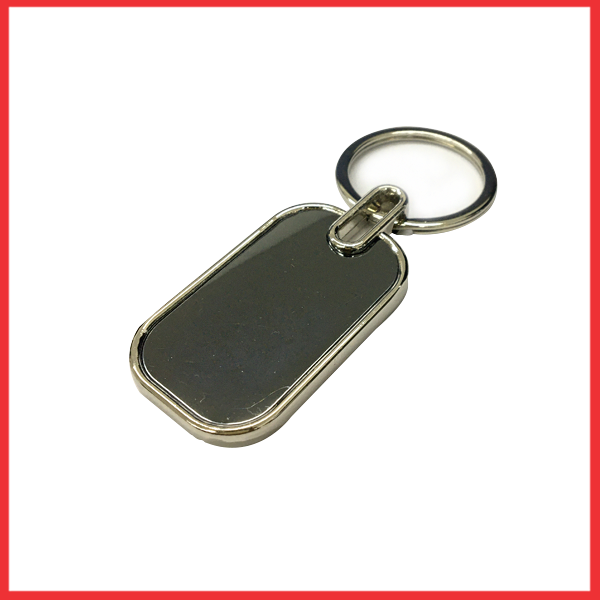Silver And Metal Keychain Round Rectangle Black Glass