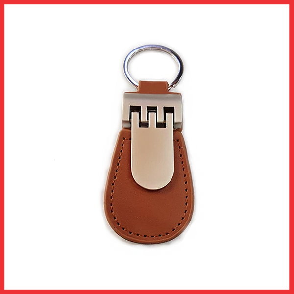 Metal Keychain with Brown Leather