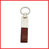 Genuine Brown Leather Keychain Ring