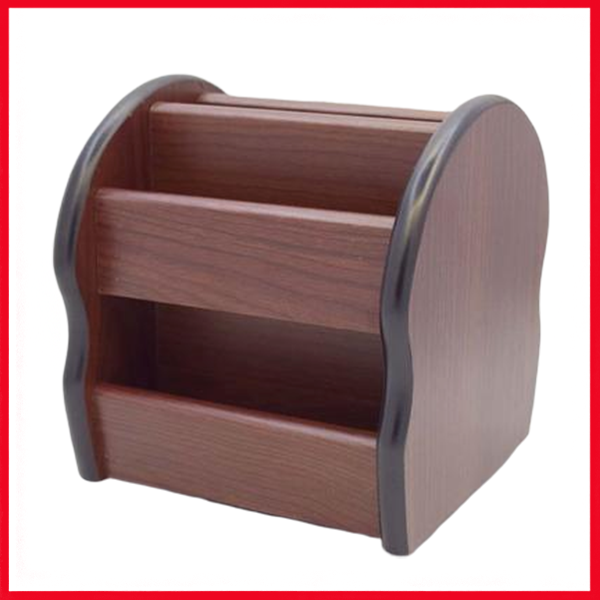4 Compartment Wooden Pen Stand, Card Holder With 360 Degree Rotation 8005-1