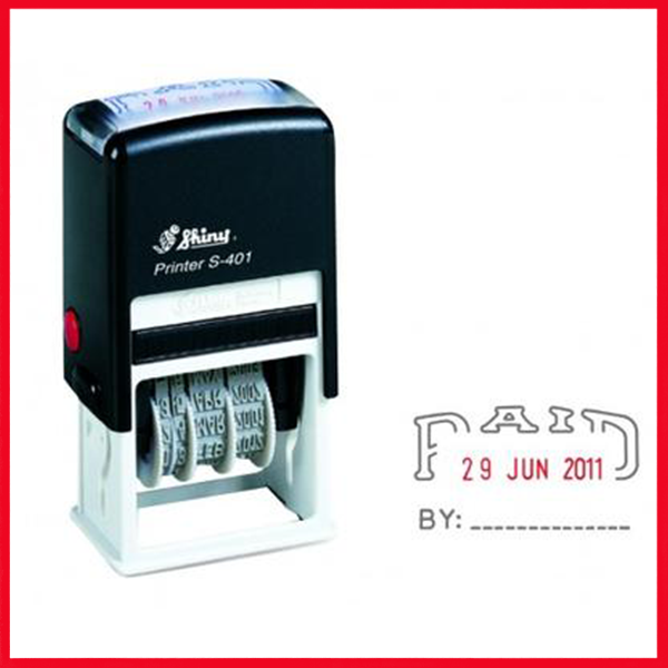 Shiny S401 Self-Ink Dater Stamp Paid