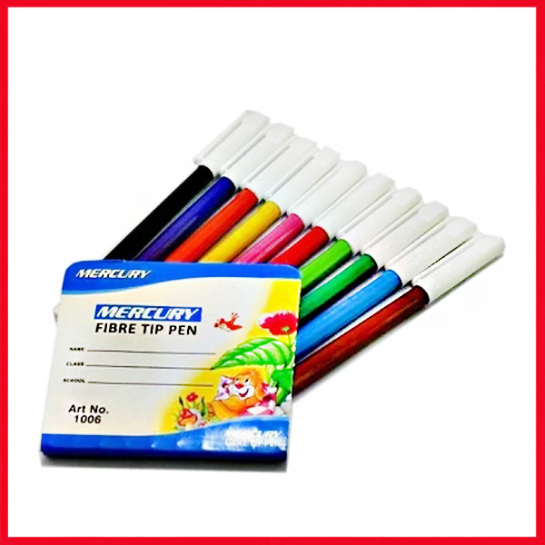 Mercury Fiber Tip Pen 10 Colors Marker Set