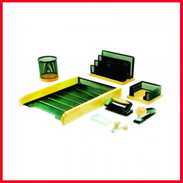 8 Pcs Metal Desk Set with Paper Tray - Desk Organizer - Paper Stand.