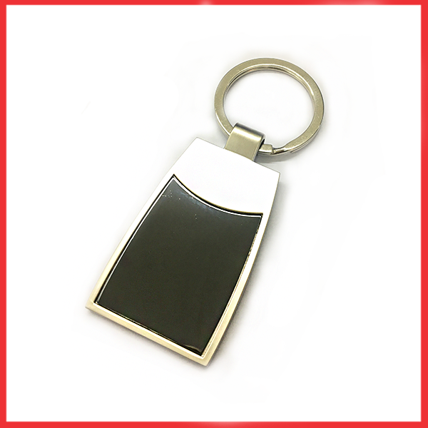 Silver And Metal Keychain Black Glass.