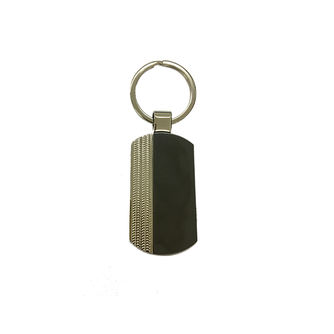 Silver and Metal with Black Glass Key Chain