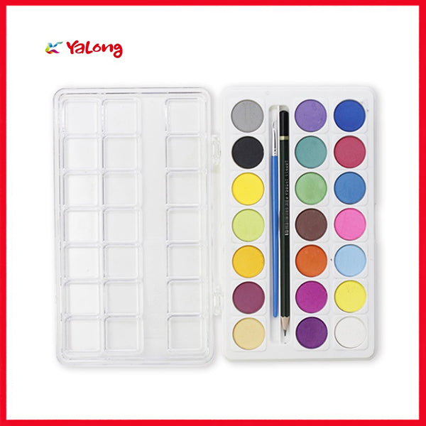 21 Color Water Color Set With Pencil & Brush