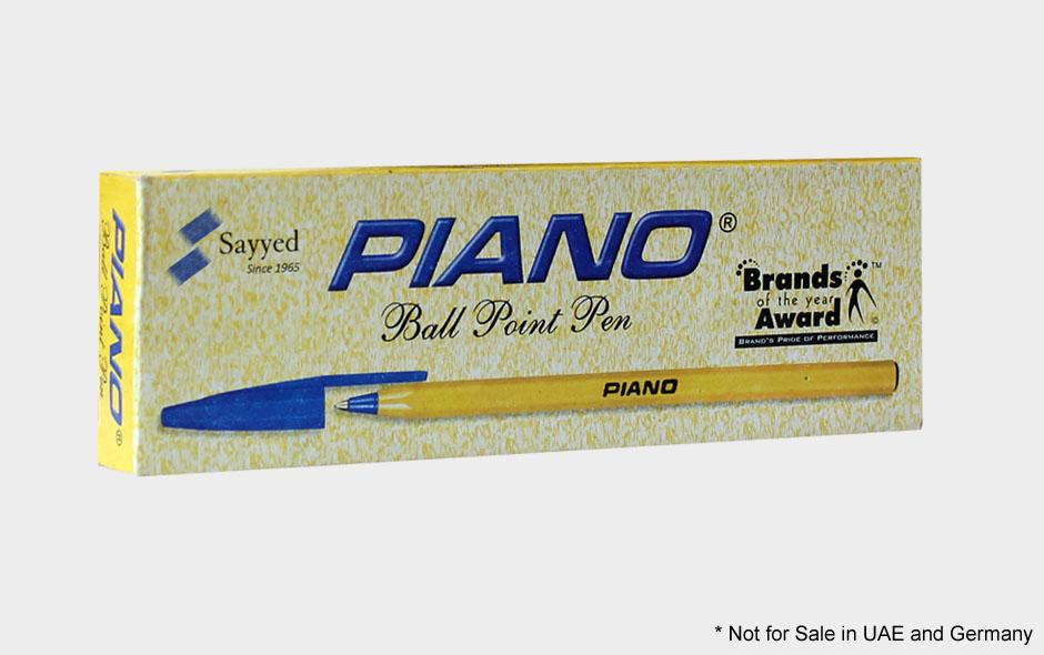 Piano Yellow Ballpoint Pen 1mm Pack Of 10