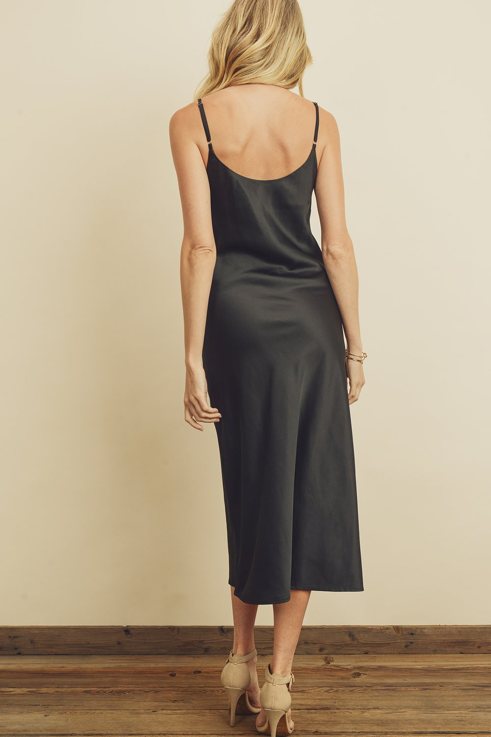 Cowl-Neck Satin Slip Dress