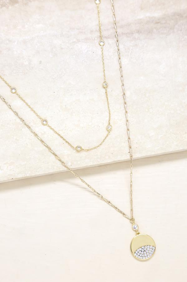 Crystal Dipped Layered Pendant Necklace Set