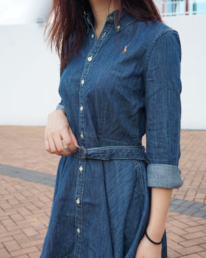 Girls Long Sleeve Denim Shirtdress
