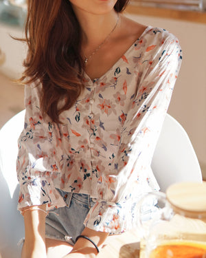 Floral Button Down Peplum Top