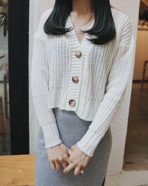 V Neck Cable Knit Cardigan Top