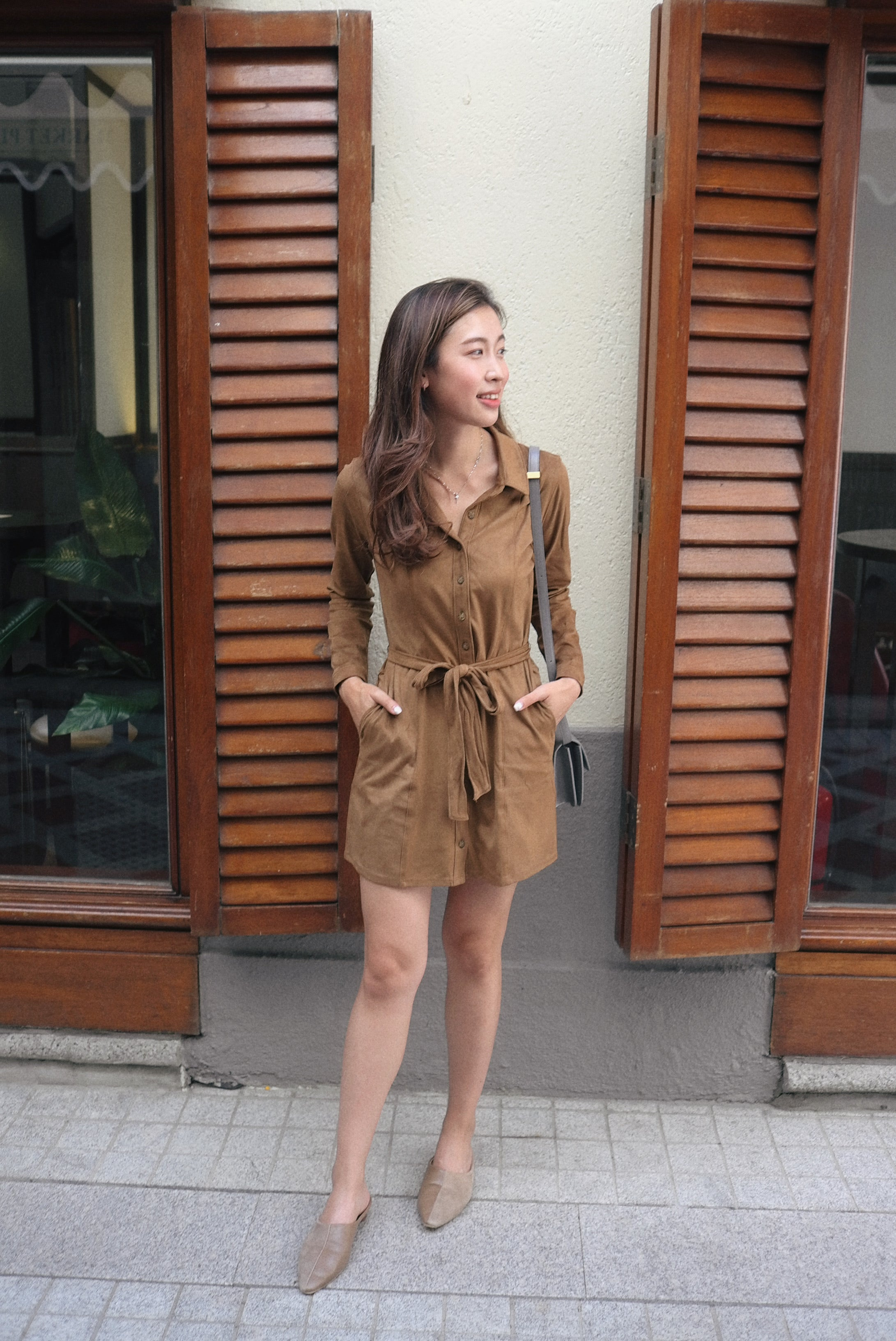 Faux Suede Belted Dress