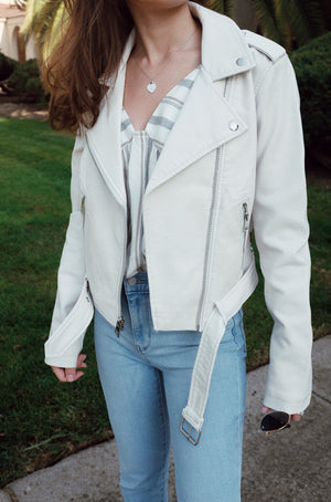 Faux-Leather Belted Moto Jacket