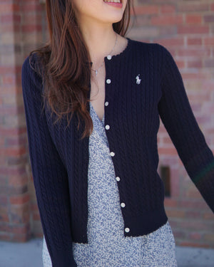 Girls Cable Knit Ruffle Cardigan
