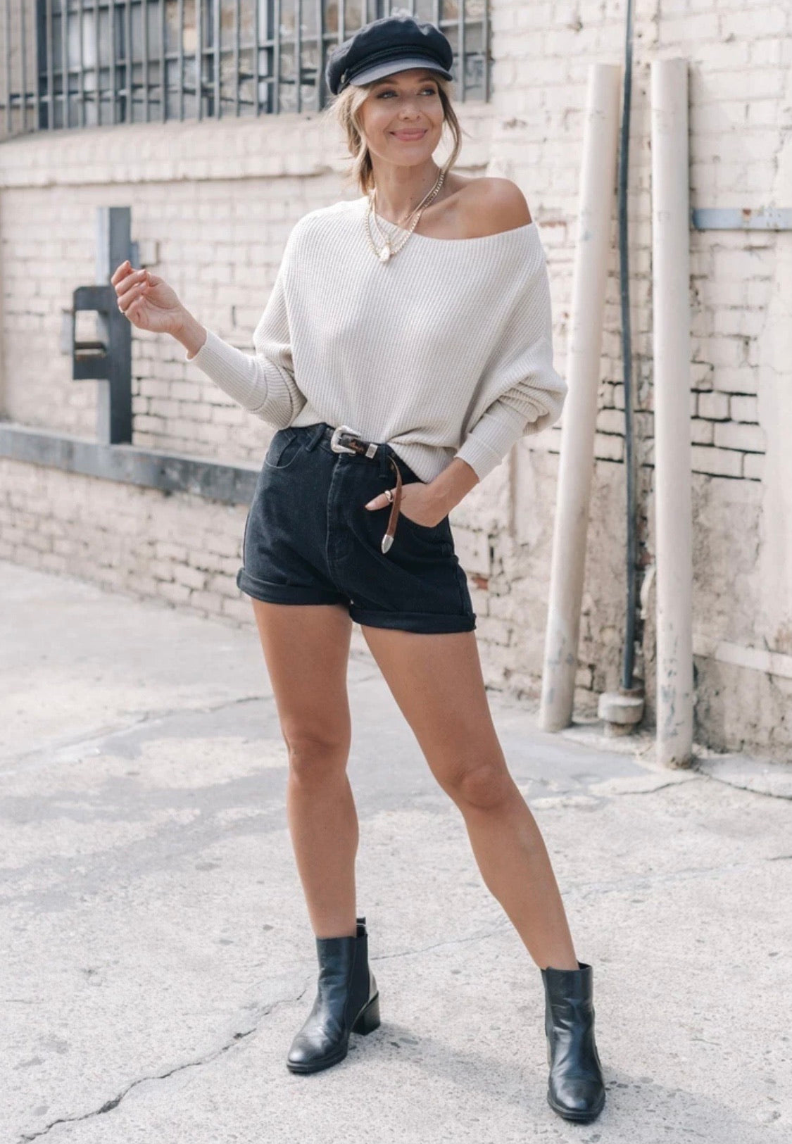 Off Shoulder Waffle Sweater