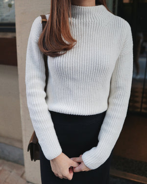 Petite Textured Mock-Neck Sweater