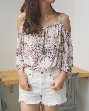 Tie Front Cold Shoulder Top