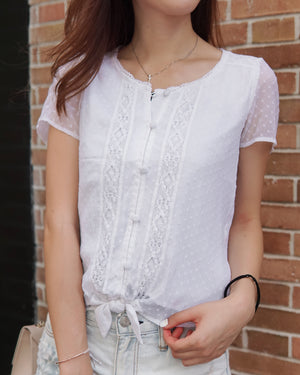 Girls Lace Button Up