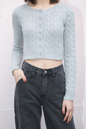 Cropped Cable Knit Cardigan