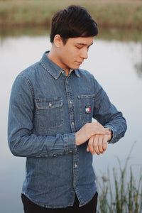 Men Denim Oxford Shirt
