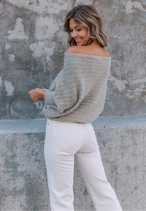 Fuzzy Ribbed Boatneck Sweater