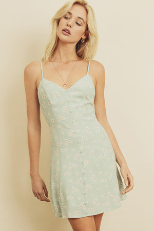 Daisy Button Front Mini Dress