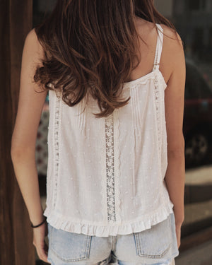 Lace Dot Trim Cami Top