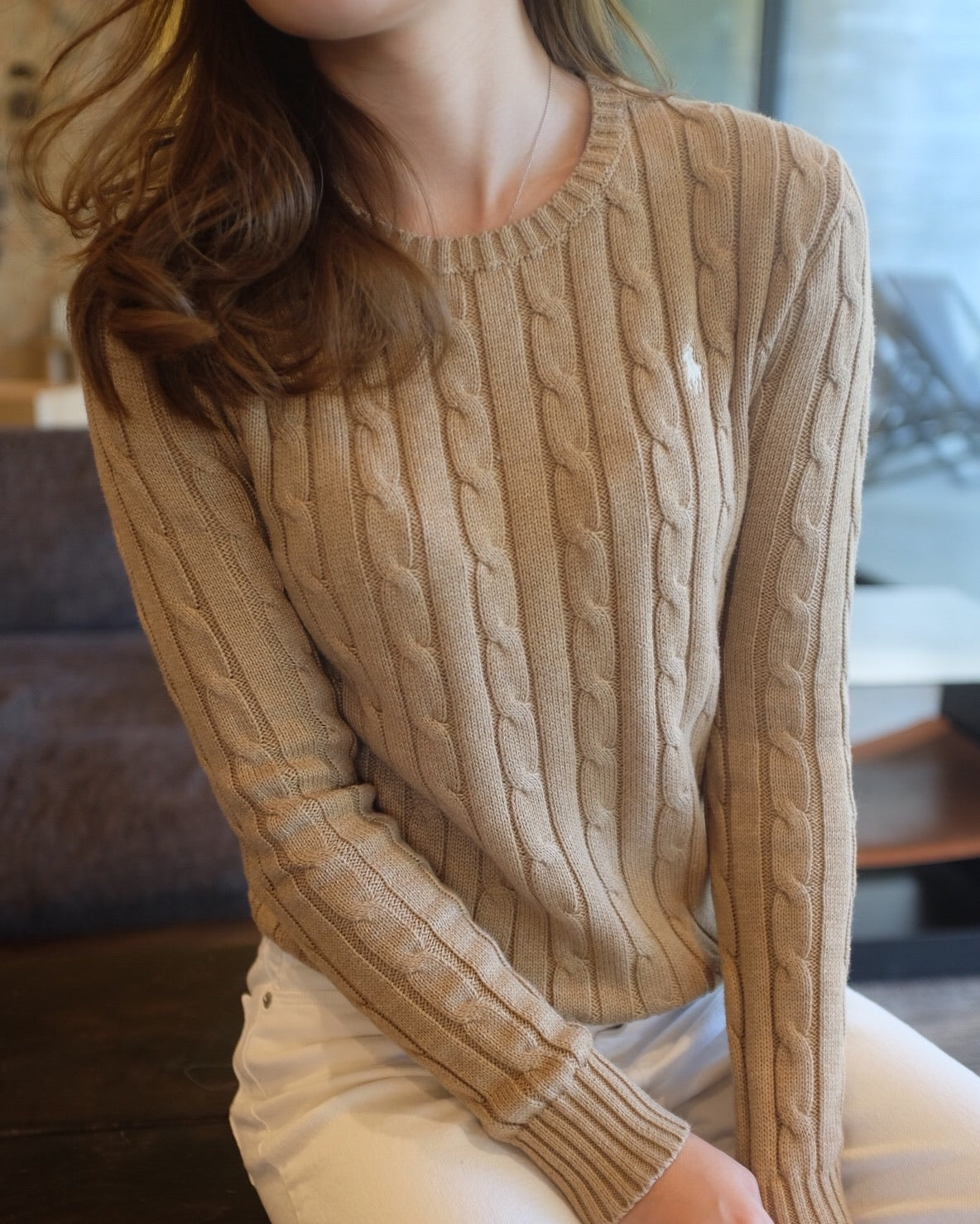 Women Crewneck Cableknit Sweater
