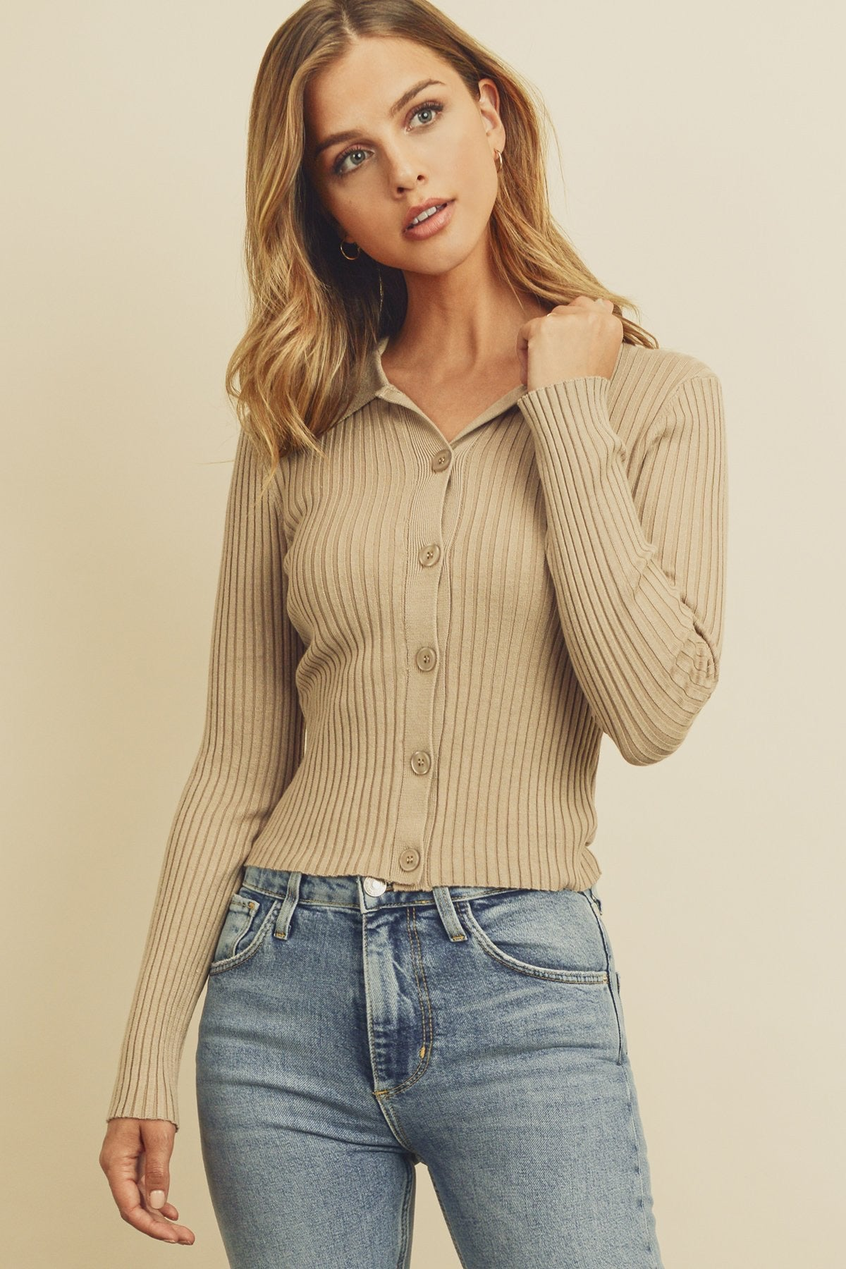Collared Button Down Knitted Top