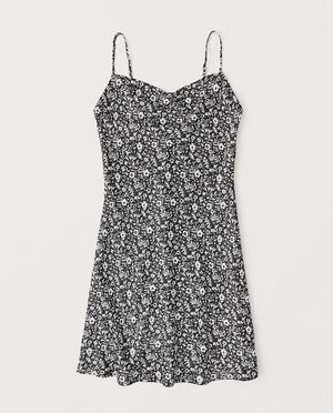 Cowlneck Slip Mini Dress