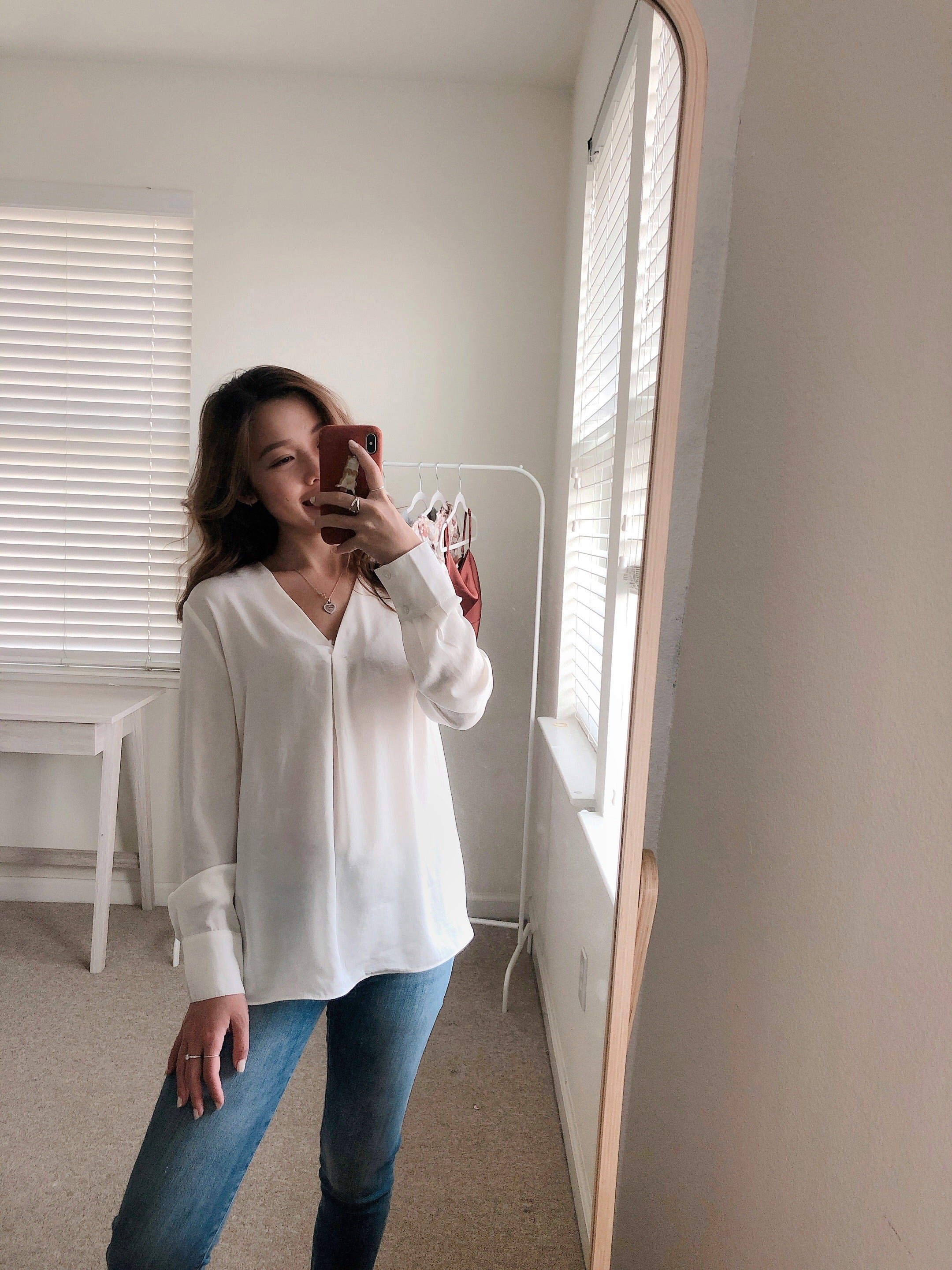 Silky V-Neck Blouse