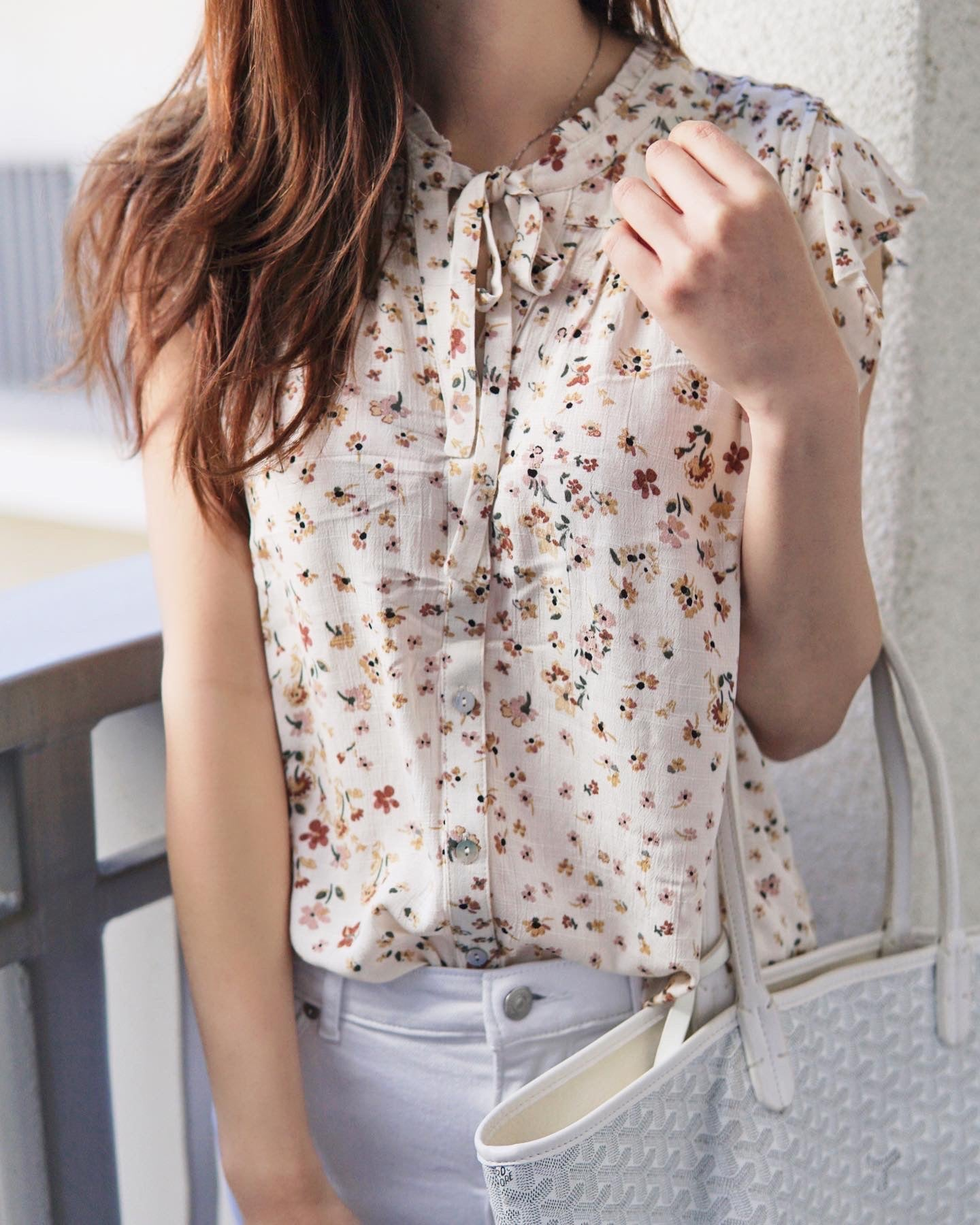 Ruffle Sleeveless Floral Blouse