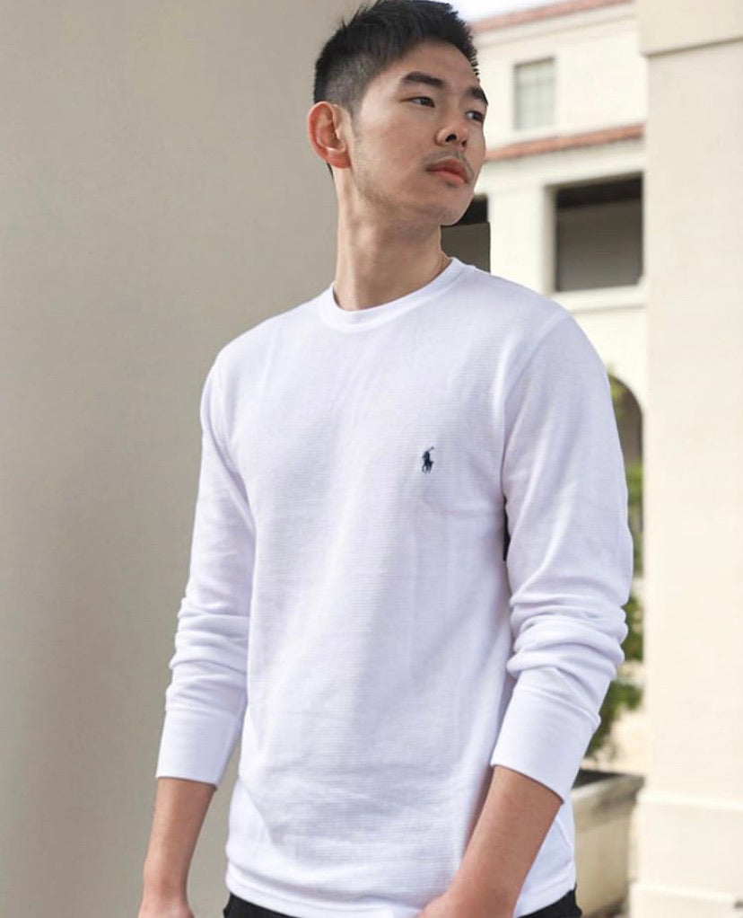 Men Long Sleeve Waffle Top