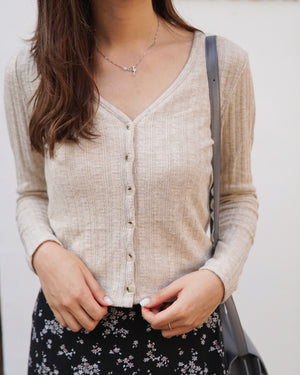Button-Down Knit Cardigan Top
