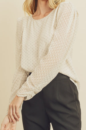 Clip Dot Puff Shoulder Blouse