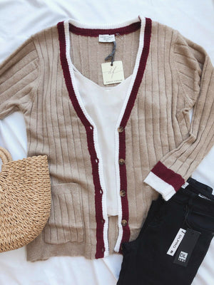 Contrast Trim V-Neck Cardigan