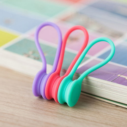 3pcs/set Candy Color Silicone Magnetic Earphone Cord Winder Cable Holder Key Chain Kawaii Multifunction Office Desk Organizer