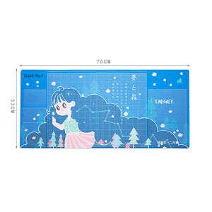 Cute Mice Pad Office Gaming Computer Desk Mat Modern Table Waterproof PU Laptop Cushion Multifunction Writing Desk Pad 70x30CM