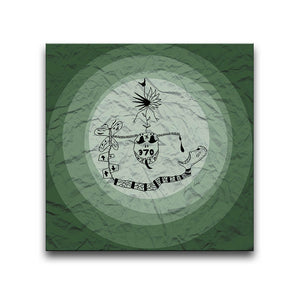 Canvas Wall Art featuring a surreal image depicting addiction with a green circular design and a crumpled paper texture. Artwork by Louis l'Artiste