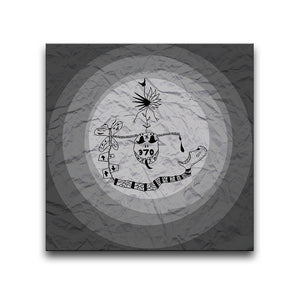 Canvas Wall Art featuring a surreal image depicting addiction with a grey circular design and a crumpled paper texture. Artwork by Louis l'Artiste