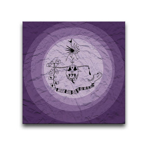 Canvas Wall Art featuring a surreal image depicting addiction with a purple circular design and a crumpled paper texture. Artwork by Louis l'Artiste