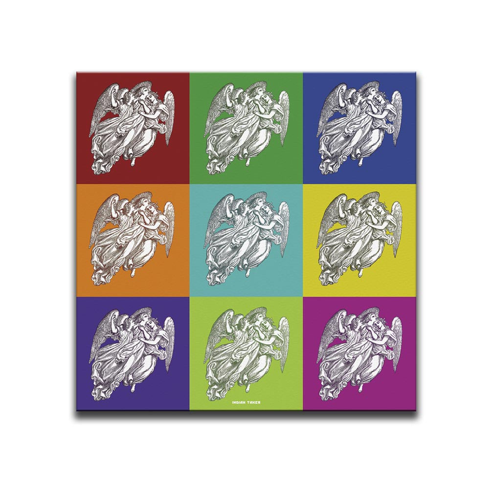 Canvas Wall Art featuring a repeated image of angels in a printmaking style set against nine multicoloured chequered squares. Artwork by Indian Taker